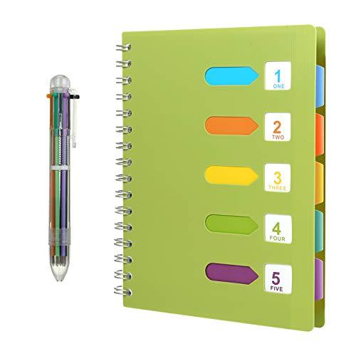 Kesote A5 Taccuino ad Anelli con Etichette di 5 Colori e Una Penna a Sfera di 6 Colori A5 Quaderno per Scuola, Ufiicio o Casa, 120 Fogli, Verde