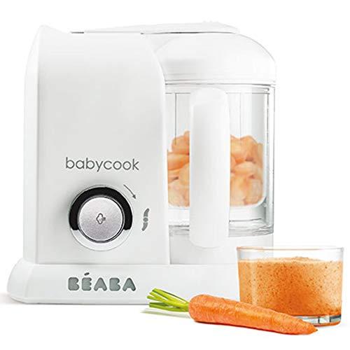 BÉABA Babycook Solo, Robot de cocina infantil 4 en 1, Tritura, cocina y cuece al vapor, Cocción rápida, Comida casera y deliciosa para bebés y niños, Comida variada para tu bebé, Blanco/Plato