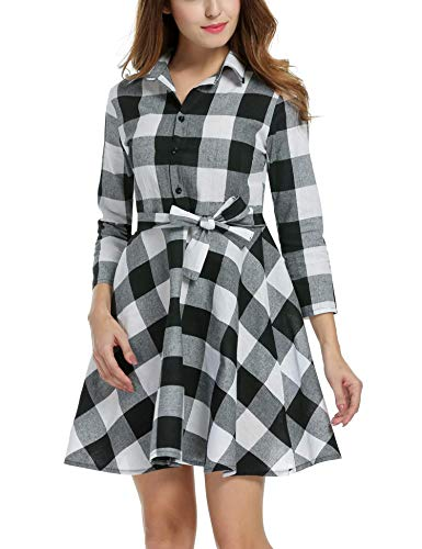 Zeagoo Women Lapel 3/4 Sleeve Plaid Belted Casual Swing Shirt Dress (Small, White)