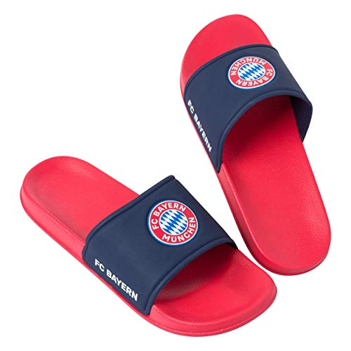 FC Bayern München - Ciabatte da bagno con logo (43, rosso/blu)
