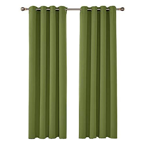 UMI by Amazon Cortinas Opacas de Salón Decoración para Habitación Dormitorio Moderno Suaves 2 Piezas con Ojales 140 x 245 cm Verde
