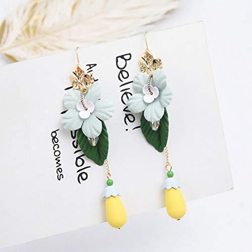 ZHQIC Persönlichkeit Tuch Blume Acryl Blatt Wassertropfen Aubergine Baumeln Ohrringe Mode Frauen