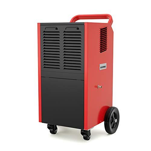 Dorosin Energy Star Luchtontvochtiger met afvoerslang voor ruimtes tot 180 vierkante meter, draagbare wielen, rood