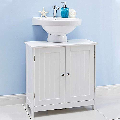 Bathroom Under Sink Vanity Cabinet Free Standing Pedestal Sink Storage Cabinet with 2-Door and Shelves Modern White Wood Under Sink Space Saver Organizer