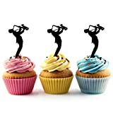 Saxophone Musician Silhouette Acrylic Cupcake Toppers 12 pcs