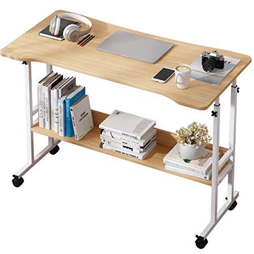 BNMKL Computer Desk, Bedside Computer Table with Wheels, Computer Workstation with Shelves, 120X60x79cm Mobile Workstationfor Home Office,Oak