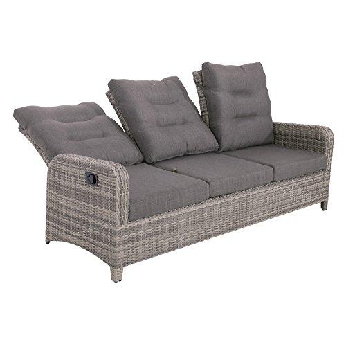 lifestyle4living Gartenbank 3 Sitzer aus Polyrattan Geflecht inkl. Kissen in grau. Die Loungebank ist wetterfest, ideal…