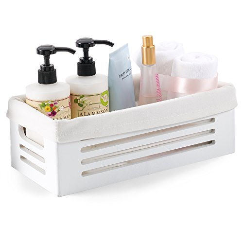 Wooden Storage Bin Container - Decorative Closet, Cabinet and Shelf Basket Organizer Lined with Machine Washable Soft Linen Fabric - White, Extra Small