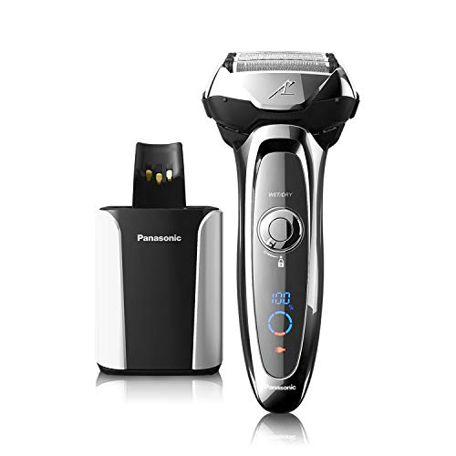 Panasonic Arc5 Electric Razor for Men, 5 Blades Shaver & Trimmer, shave sensor Technology, Automatic Clean & Charge Station, Wet Dry - ES-LV95-S