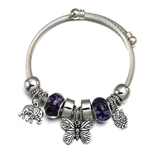 Home CNLXDSB Moda Charm Love Butterfly Pulsera con Cuentas Joyas Ajustable Pulsera Brazaletes Accesorios románticos Moda Mujer Joyería para Mujeres (Diameter : 60MM Adjustable, Metal Color : Q)