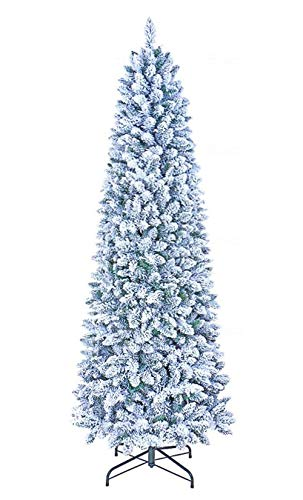 GOLDSTAR Flocked Artificial Christmas Tree 7.5 Feet Unlit, Beautiful Crafted Flocked Snow Artificial Skinny Slim Pencil Christmas Tree for Holiday Decoration