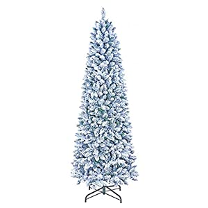 GOLDSTAR Flocked Artificial Christmas Tree 6.5 Feet Unlit, Beautiful Crafted Flocked Snow Artificial Skinny Slim Pencil Christmas Tree for Holiday Decoration