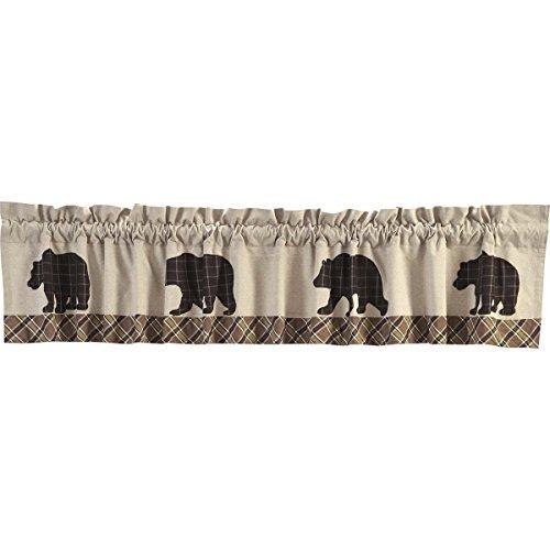 VHC Brands Rustic & Lodge Kitchen Window Wyatt Tan Bear Curtain, Valance 16x60