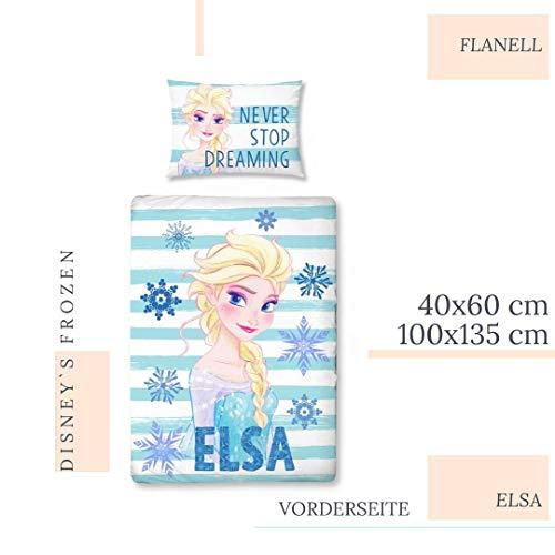 ELSA Bettwäsche Flanell/Biber ☆ Frozen Kinderbettwäsche für Mädchen türkis ☆ Disney Eiskönigin 2 - 1 Kissenbezug 40x60 + 1 Bettbezug 100x135 cm