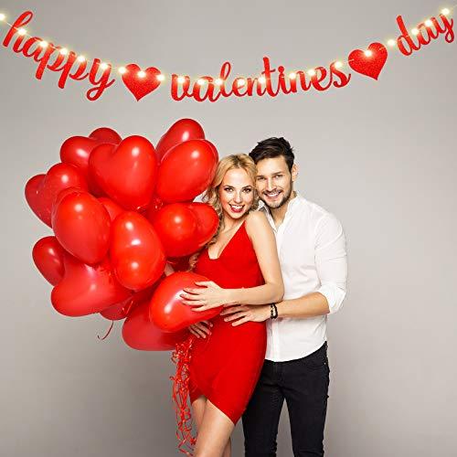 Hiboom Striscione Happy Valentine's Day Banner San Valentine con Cuore Rosso Glitterato con 8 Stampi Lucidi Stringa Leggera Banner Ghirlanda Valentine per Appuntamenti Vacanze Feste Decorazioni