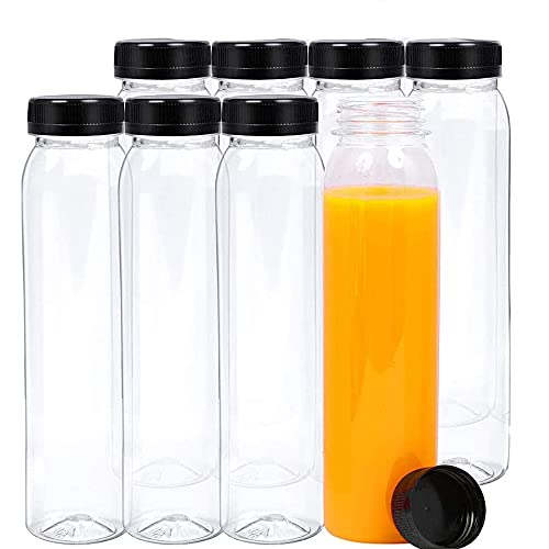 Gfdg Bottiglia di Bevanda Trasparente Vuota, 8 Pezzi Contenitori Vuoti in Plastica per Succhi di Frutta, Bottiglie d'Acqua in Plastica Riutilizzabili, Conservazione di Succhi, Latte, Frullato, 400 ML