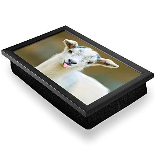 Bandeja de regazo de lujo, cómoda, funcional, portátil, puf – Lindo cabra blanca granja animal #3309