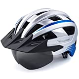 VICTGOAL Casco Bicicleta Adulto con Luz LED Casco de Ciclismo Ajustable MTB Casco Bicicleta de Montaña para Hombres Mujeres 57-61 CM (Plata)