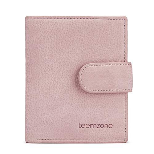Teemzone K367 - Monedero de Piel para Mujer, con 18 tarjeteros, protección RFID, con Compartimento para Monedas, Color Rosa