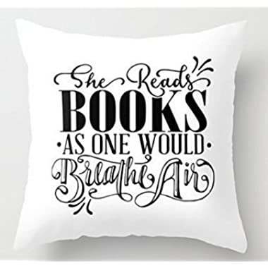 BabysSJ 18  x 18  Reading Books Hand lettered quote Decorative Throw Pillow Case Cushion Cover