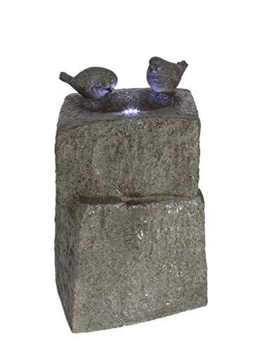 DARO DEKO Garten-Brunnen komplett Set mit Pumpe Vogel-Tränke 34cm x 34cm x 55cm