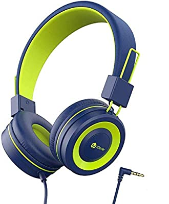 iClever Kids Headphones Boys, Childrens Headphones on Ear, Volume Limited, Stereo Sound, Foldable, Untangled wires, 3.5mm Jack for School/Travel/Phone/Kindle/PC/MP3 by iClever