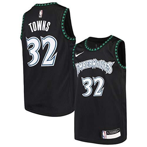 Nike NBA Boys (8-20) Karl-Anthony Towns Minnesota Timberwolves Swingman Jersey, Black, Large (14-16)