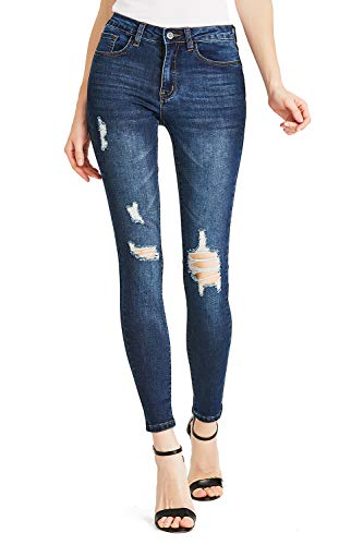 Dames Boyfriend Jeans Comfy Stretch Ripped Jeans Distressed Denim Skinny Jeans
