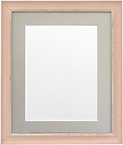 Frames By Post 6 x 4 inch Nordic fotolijst voor 4 x 3 inch grote foto met lichtgrijze passe-partout, antiek-look, roze