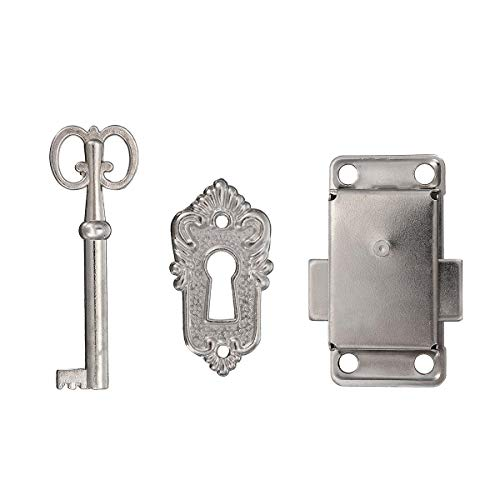 MJJEsports kabinet deur meubilair decoratieve hardware Latch Hasp Pull handgrepen sleutel Curio grootvader klok slot, ZILVER, 1