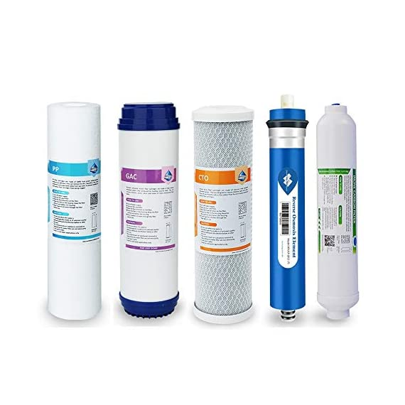 Reverse Osmosis Filter Replacement, Membrane Solutions 75 GPD Complete Replacement Filter Set For Under Sink 5-Stage… 1 : Universal 10 inch Cartridge. Fits most standard under-sink 5 or 6 stage reverse osmosis water filter system, compatible with Express Water, iSpring, Watts, APEC, Global Water, Watts, Premier, Flowmatic, PuROLine, Crystal Quest, Puromax etc. :Filtration rating of 5 micron, 75 GPD 5 Stage water filter replacement cartridges can effectively remove 99% of contaminants. Which provides safer, healthier water whether for drinking, cooking, showering, aquarium, garden, etc. : Inline carbon filter built-in 1/4 inch (JG) quick connections in both two ends of the filter. Individually wrapped and Drop-in cartridge design allows for quick and easy filter change.