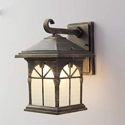 LGOO1 Lámpara de pared americana impermeable para exteriores, retro, balcón, puerta, patio, luz de pared, pasillo, jardín, escalera, lámpara de pared, apliques de pared de vidrio exterior victoriano a