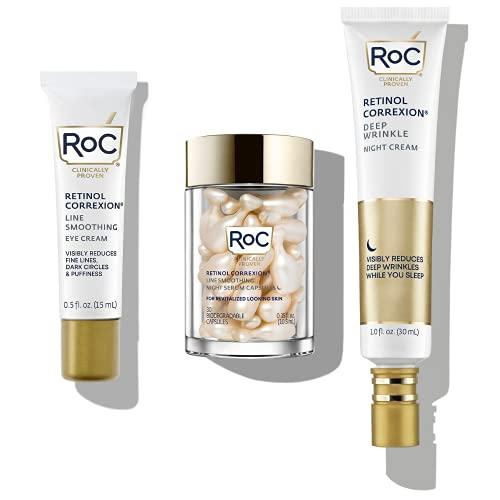 RoC Retinol PM Rituals Bundle: RoC Retinol Serum Night Capsules + Deep Wrinkle Night Cream + RoC Eye Cream for anti-wrinkles, dark circles, and puffy eyes