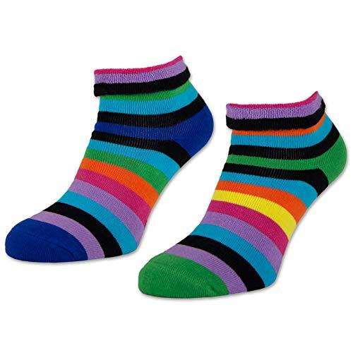 sockenkauf24 2 | 4 | 6 Paar Damen THERMO Socken mit Innenfrottee warme Wintersocken Bunte Ringel Umschlagsocken - 12790 (Farbmix - 39-42, 2 Paar)