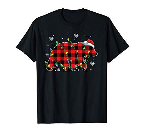 Polar Bear Christmas Lights Santa Hat Buffalo Plaid Pajamas T-Shirt