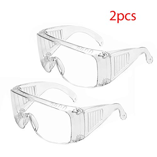 Ciujoy Clear Glasses 2-Pack Anti-Scratch Eyewear with Adjustable Head Belt for Construction, Laboratory, Chemistry, Personal Use