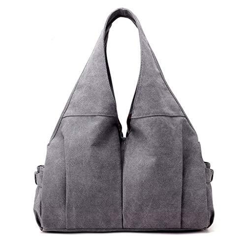YWYW Damen-Segeltuch-Schulter-Beutel Weinlese-Mode-Umhängetasche Großen Kapazitäts-Laptop-Tasche Geschäft Commuting Tasche Für Geschäftsreise, Grau