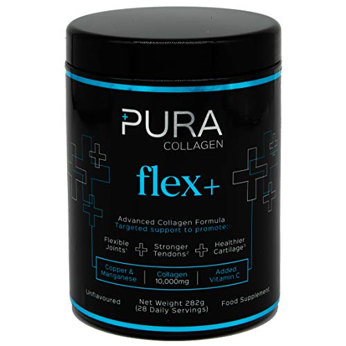 Pura Powdered Collagen Supplement (Flex +) | Hydrolysed Collagen Peptides with Added Copper, Vitamin C & Manganese | 284g (28 Servings)