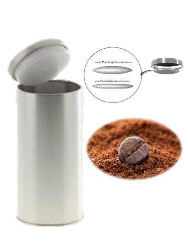 Kaffeedose 1250 ml Farbe silber Neu mit Silicabag zur Erhaltung der Aromastoffe.