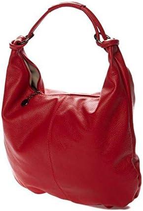 Italian Red Calf Leather Hobo Shoulder Bag by Vittoria Pacini