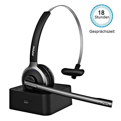 Mpow Bluetooth Headset, Wireless Headset mit Ladestation, PC Headset mit Mikrofon Drahtloses Leicht-Headset Rauschunterdrückung Funk-Headset Freisprechen Bluetooth Headset für Phone Skype,Call Center