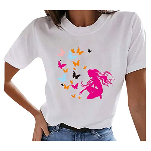 Womens O Neck Tops Casual Short Sleeve T Shirts Fashion Print Tee Blouses Loose Fit Tunic Tops Teen Girls Solid Color Summer Tops Loose Fit