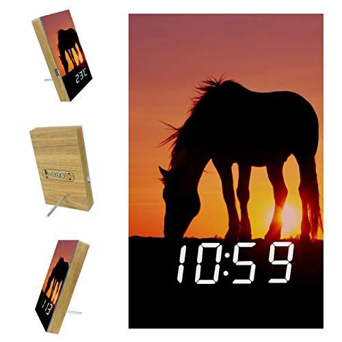 Indimization Digital Alarm Clock Kids Sunset Horses Wake Up Boys Girls Alarm with Snooze Bedside Clock LED Night Light Clock Best Gift for Kids 6.2x3.8x0.9 in