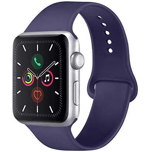 Vancle コンパチブル Apple Watch バンド 38mm 42mm 40mm 44mm シリコン スポーツバンド アップルウォッチ バンド for iWatch Series 5/4/3/2/1に対応 (42mm/44mm-S/M, ミッドナイトブルー)