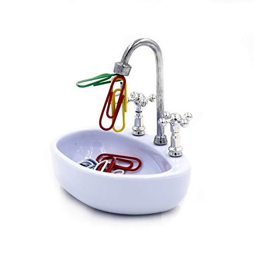 Kitchen-dream Soporte para portapapeles, diseño de lavamanos para el baño a mano, contenedor de decoración para oficina doméstica - Organizador de mesas o escritorios Papelería divertida