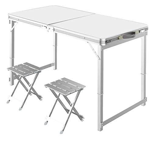 Mesa de picnic plegable y silla de playa, altura ajustable, 2 mesas y sillas de aleación de aluminio, camping, fiesta, barbacoa-blanco