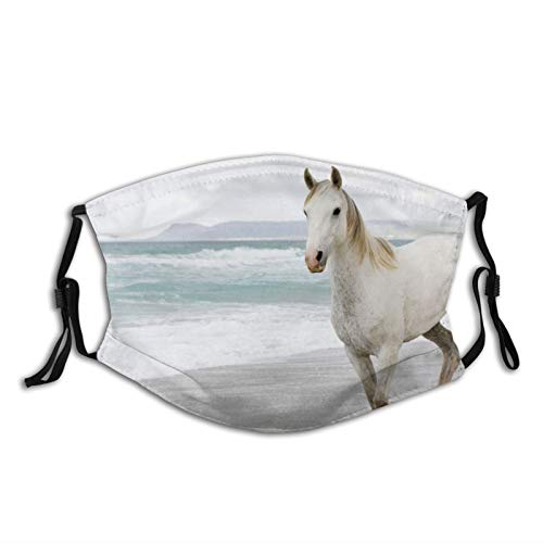 HaiYI-ltd Masque pour homme et femme Motif cheval Blanc Sable Évasion de mer Réutilisable Cagoule Anti Poussière pour Fête Voyage Utilisation quotidienne