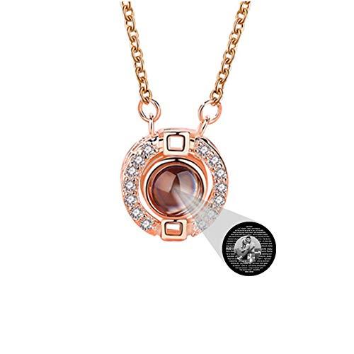 TE QUIERO Collar Collar de proyección personalizado Collar de foto 100 Collares de diferentes idiomas Collar de memoria(Oro rosa Blanco y negro1 20)