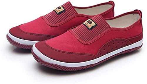 Zapatos Kung Fu, Zapatos De Tai Chi Mujer Zapatillas De Deporte De Artes Marciales Transpirables Ligeros Suela De Goma para Entrenamiento Diario Ejercicios Matutinos,Red-40