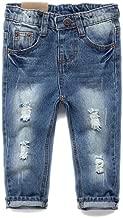 KIDSCOOL SPACE Baby Girl Boy Jeans,Little Kid Elastic Band Inside Ripped Denim Pants,Light Blue,12-18 Months
